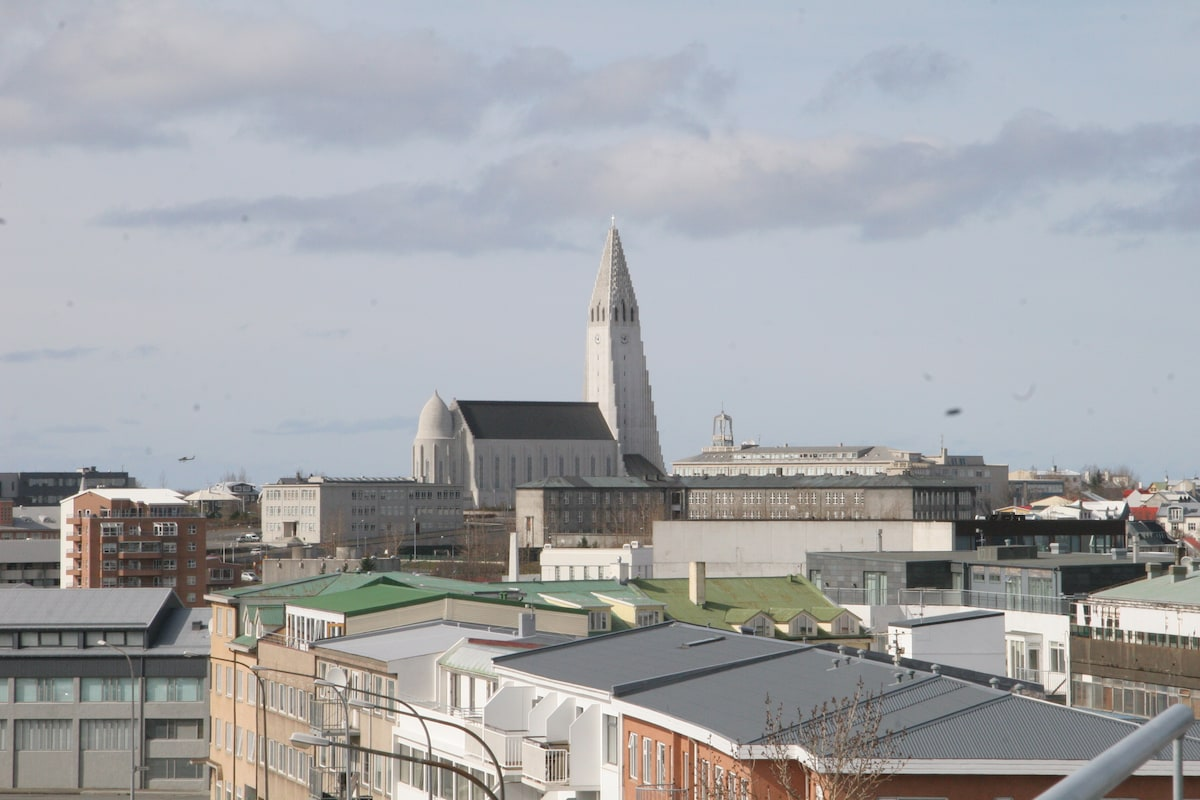 Hallgrímskirkja, the largest church in Reykjavik and a well known landmark. It is well worth the visit to enjoy the view from its tower.