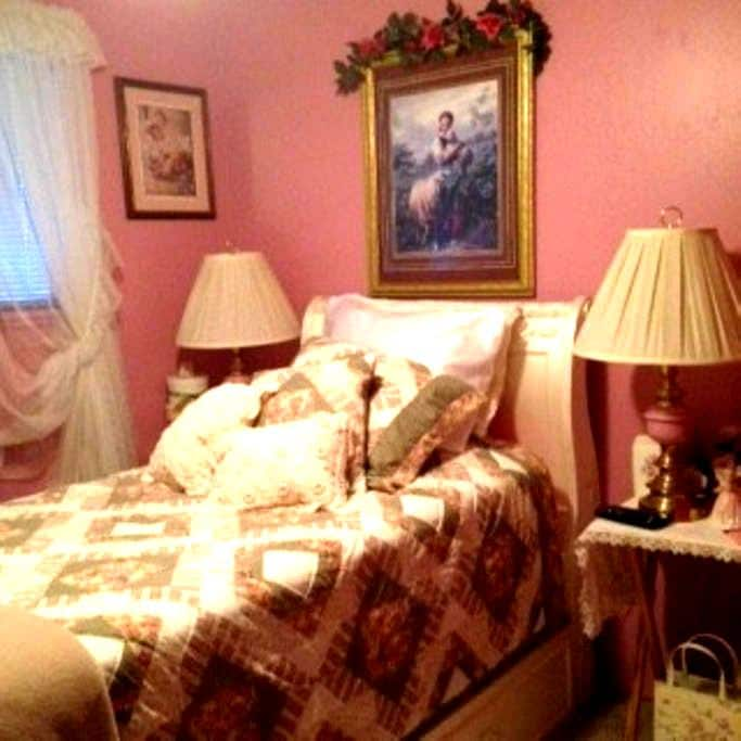 Quiet Beautiful Pink Bedroom with flat screen TV - Parme