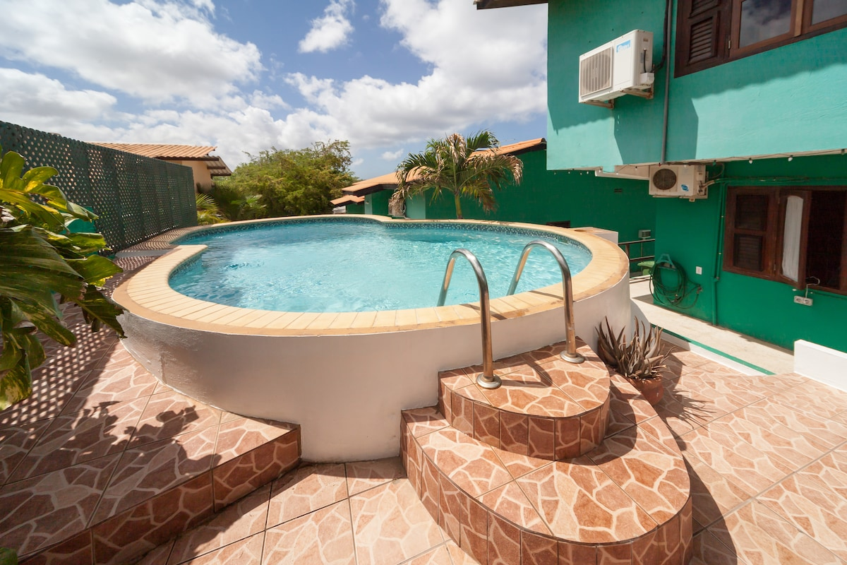 Swimming pool at the back! Enjoy some pleasant and private moments in the shade or step on to the tiled sun terrace with comfortable loungers. Sun terrace and pool are shielded from the road, so pleasant privacy!    Zwembad aan achterzijde met betegeld zo