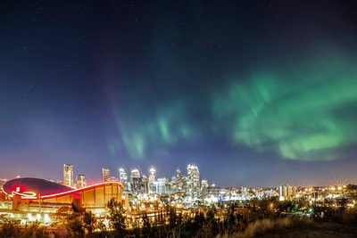 Aurora Borealis over Calgary. You can receive real time alerts of geomagnetic activity from AuroraWatch. See the Northern Lights from your room!