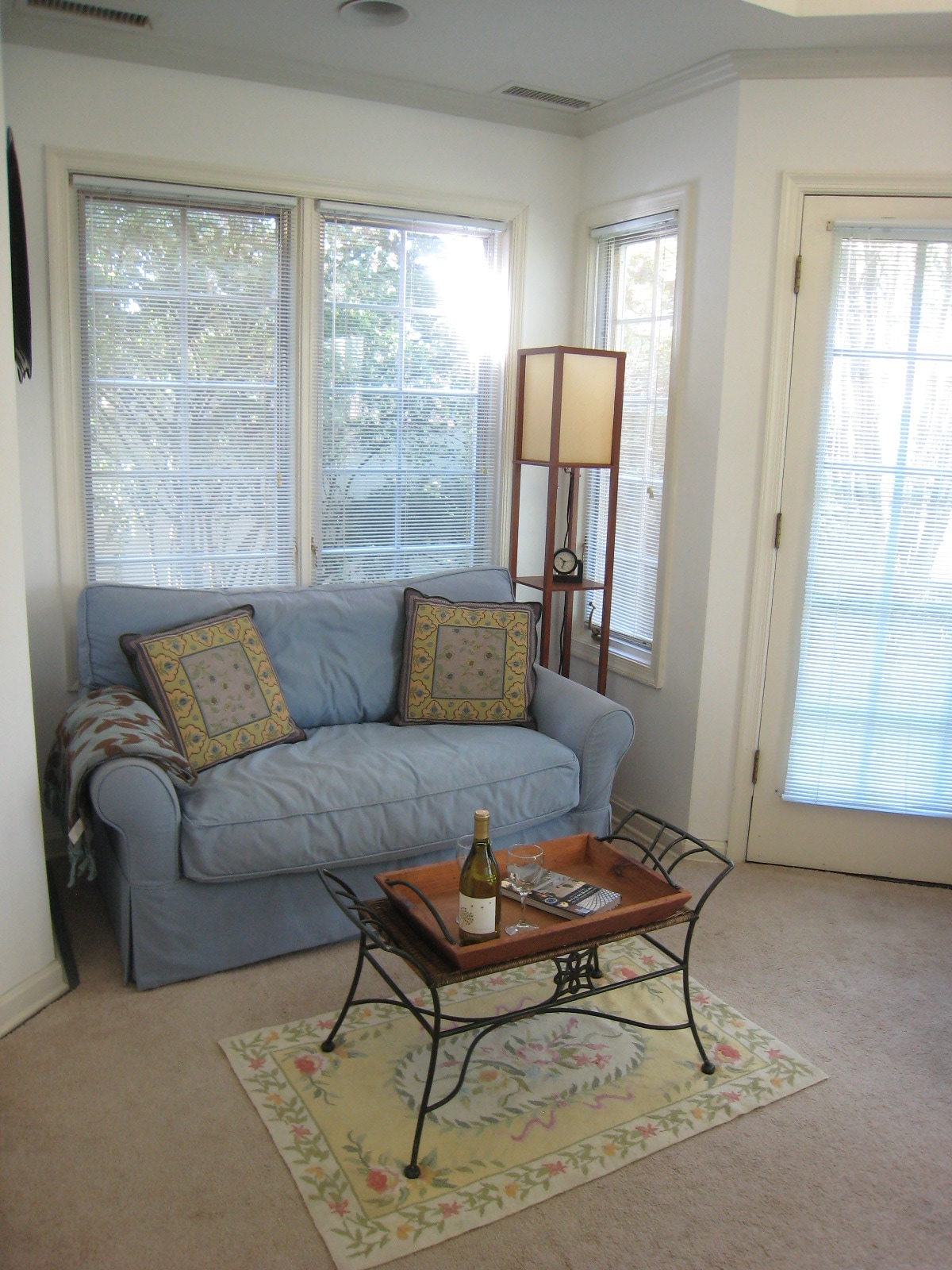 Loveseat provides comfortable seating where you can review the many guidebooks we provide. It also  folds out to a twin bed.