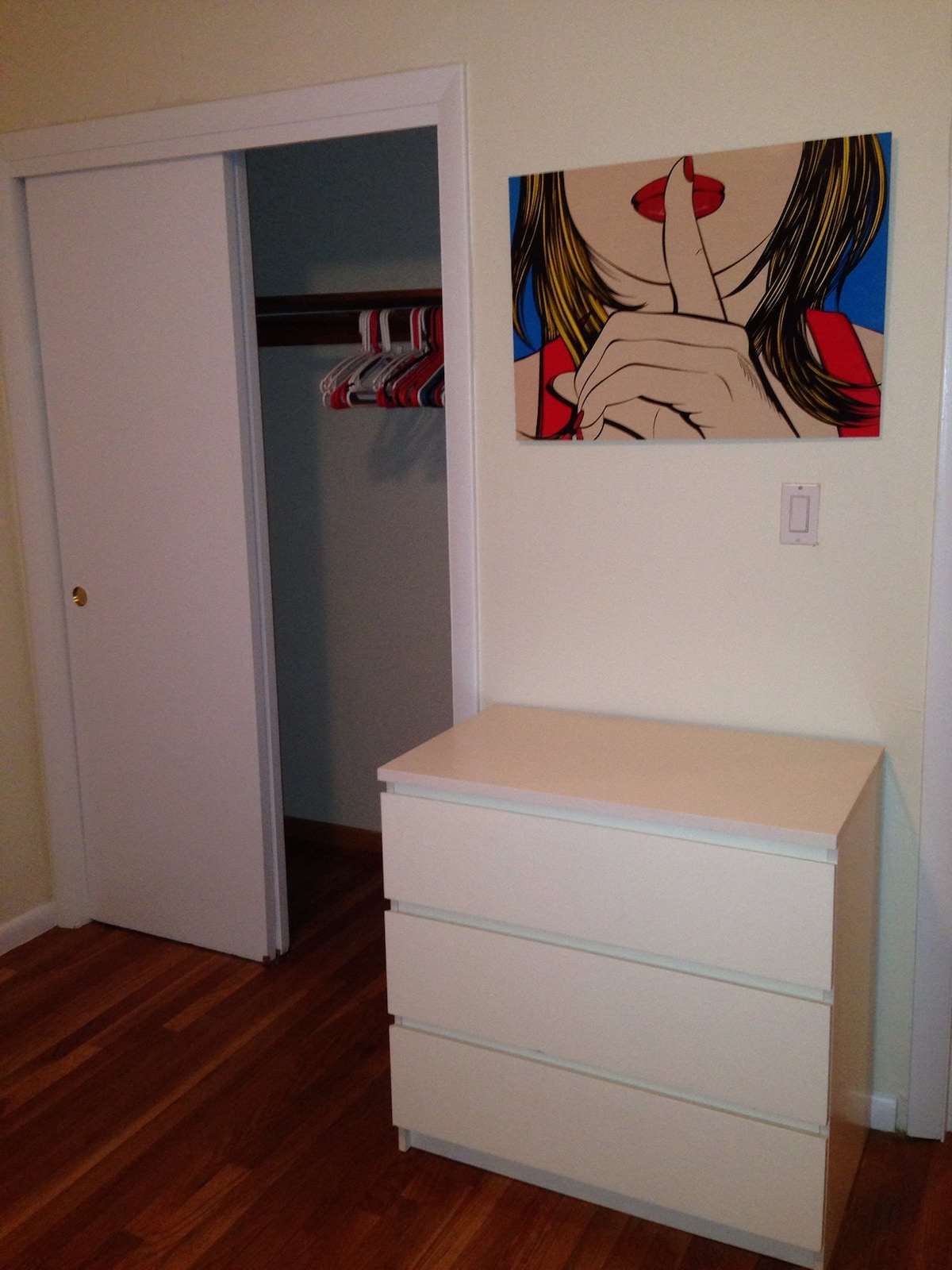 Large closet space plus dresser for additional clothes storage