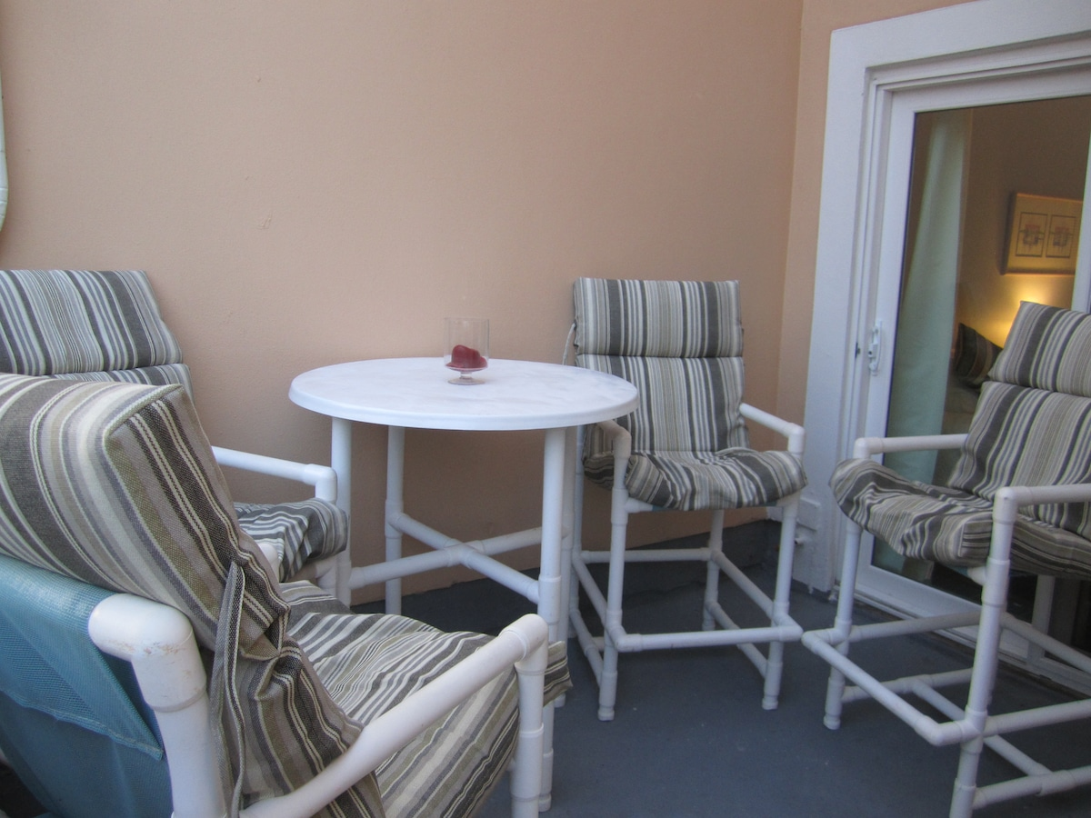Our patio is lovely and private.