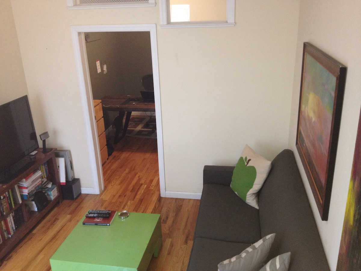 Living room, looking in to my home office (or spare bedroom for aerobed)