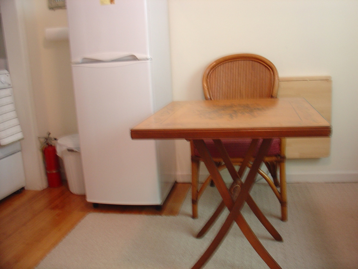 extra table folds out, kept in closet