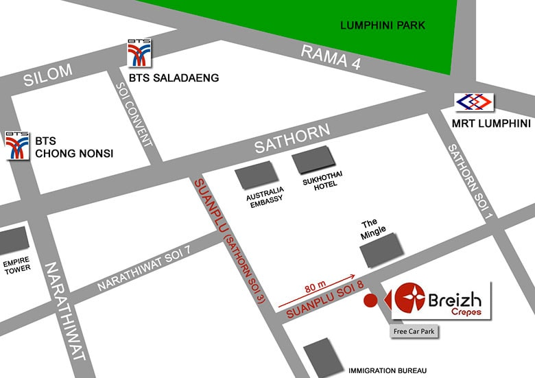 We are located just opposite Breizh Crepes on Suan Phlu Soi 8