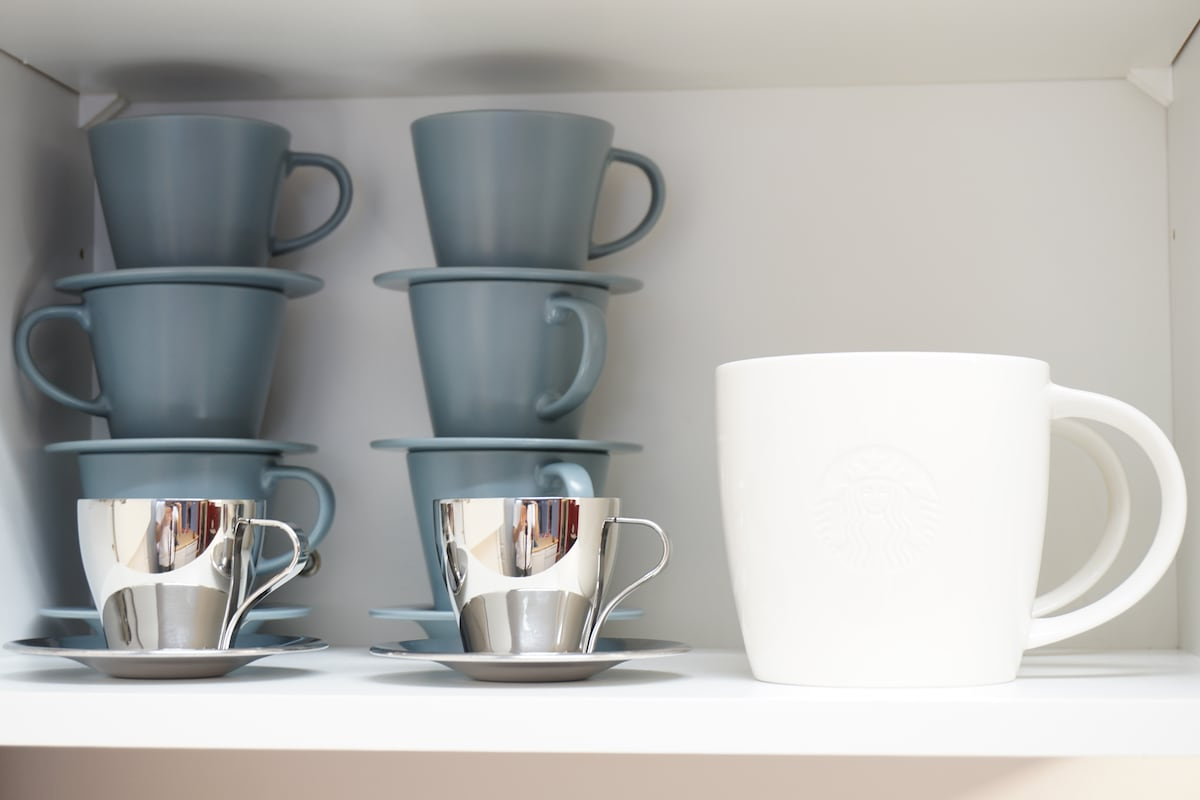 Stainless steel espresso cups and generous tea mugs