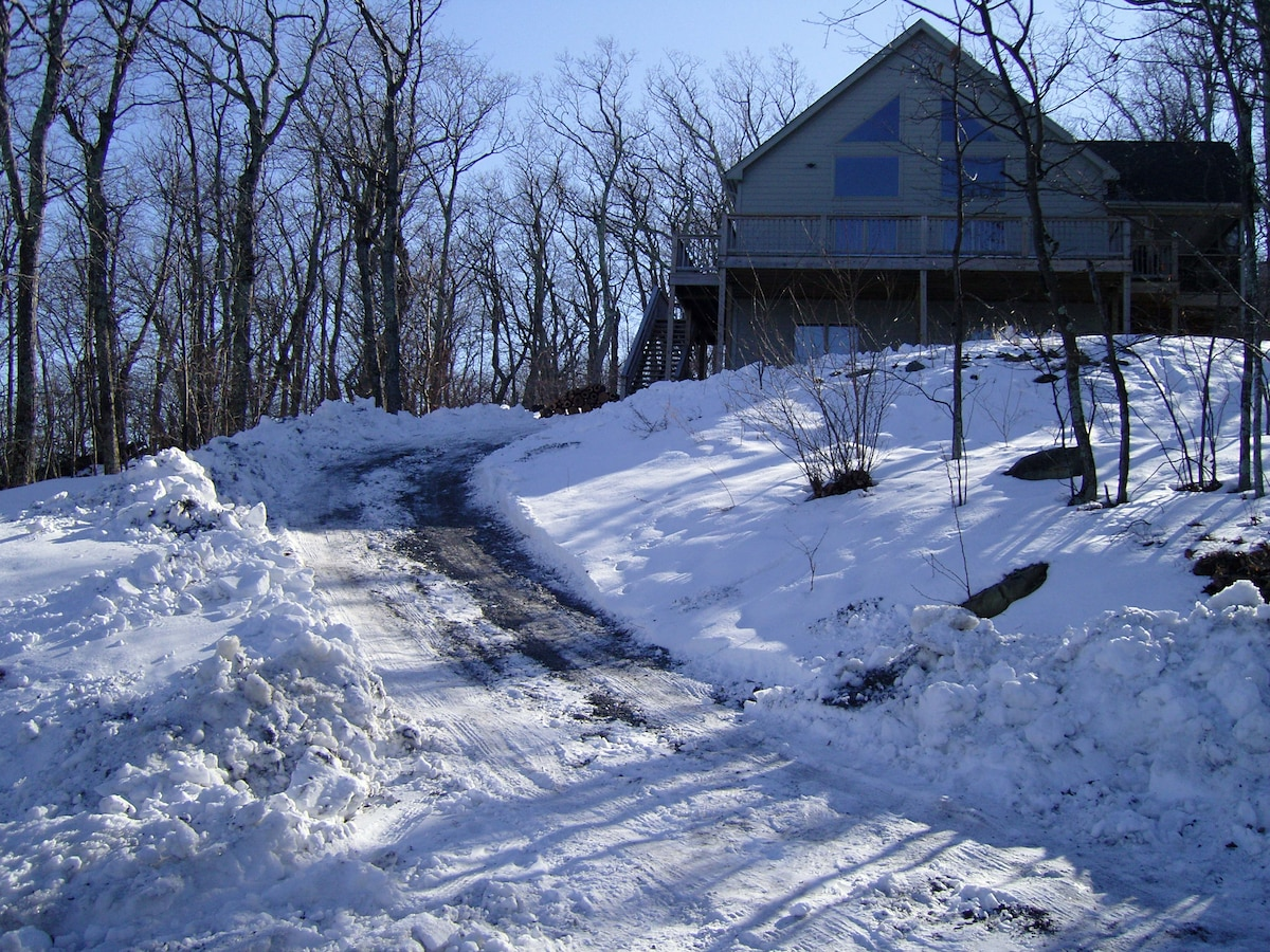 A view of our house with snow.