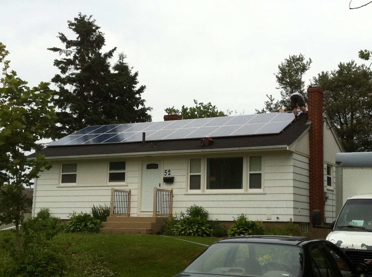 Look for the solar panels on the roof...very few homes in PEI have them...we're unique!