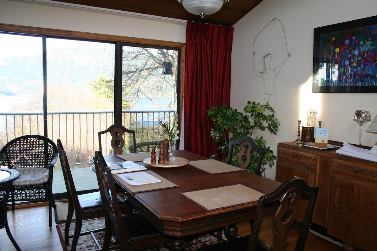 Dining room, Cowichan Bay and Mt. Tzouhalem in the background.