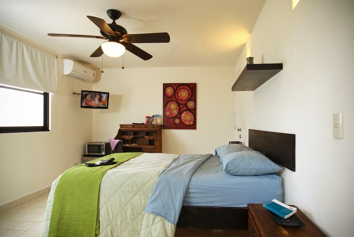 Queen size mattress, HDTV, secretaire desk, fridge, microwave, 2 big closets amd a private balcony.