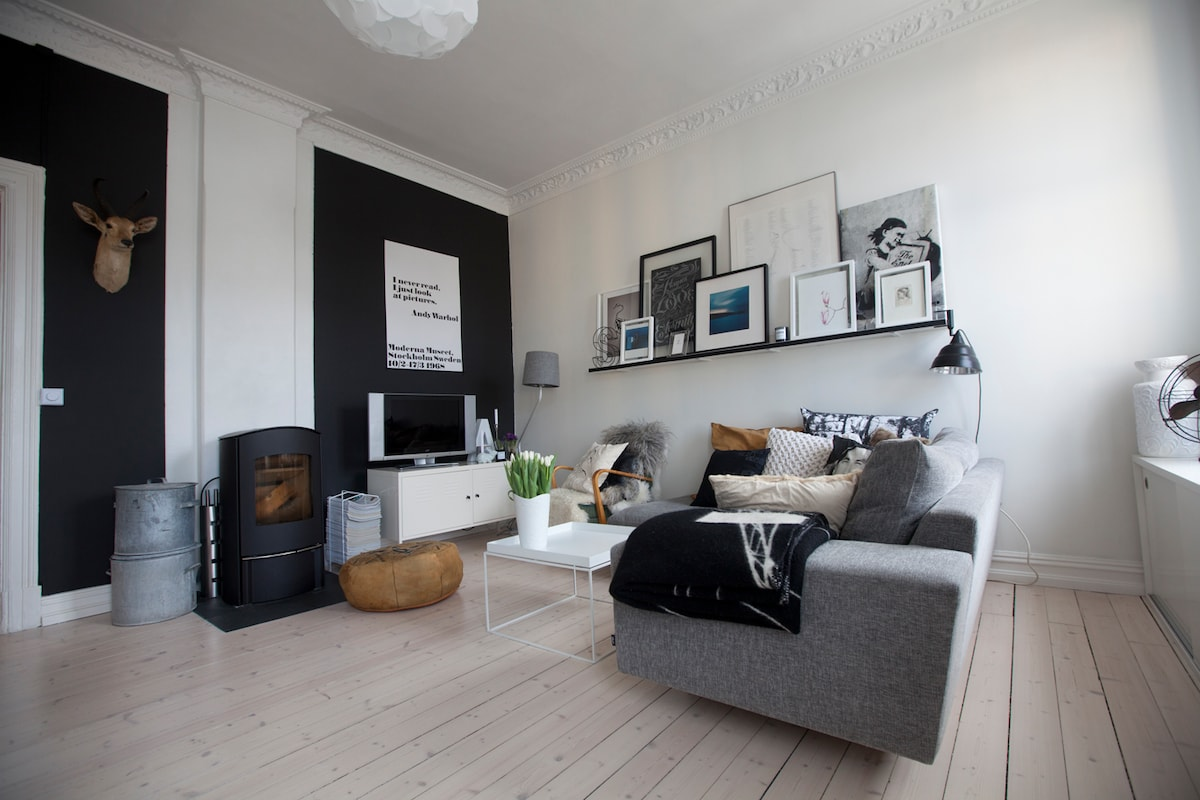 living room with cozy sofa, of lots of soft (website hidden) with cable and a nice fireplace.