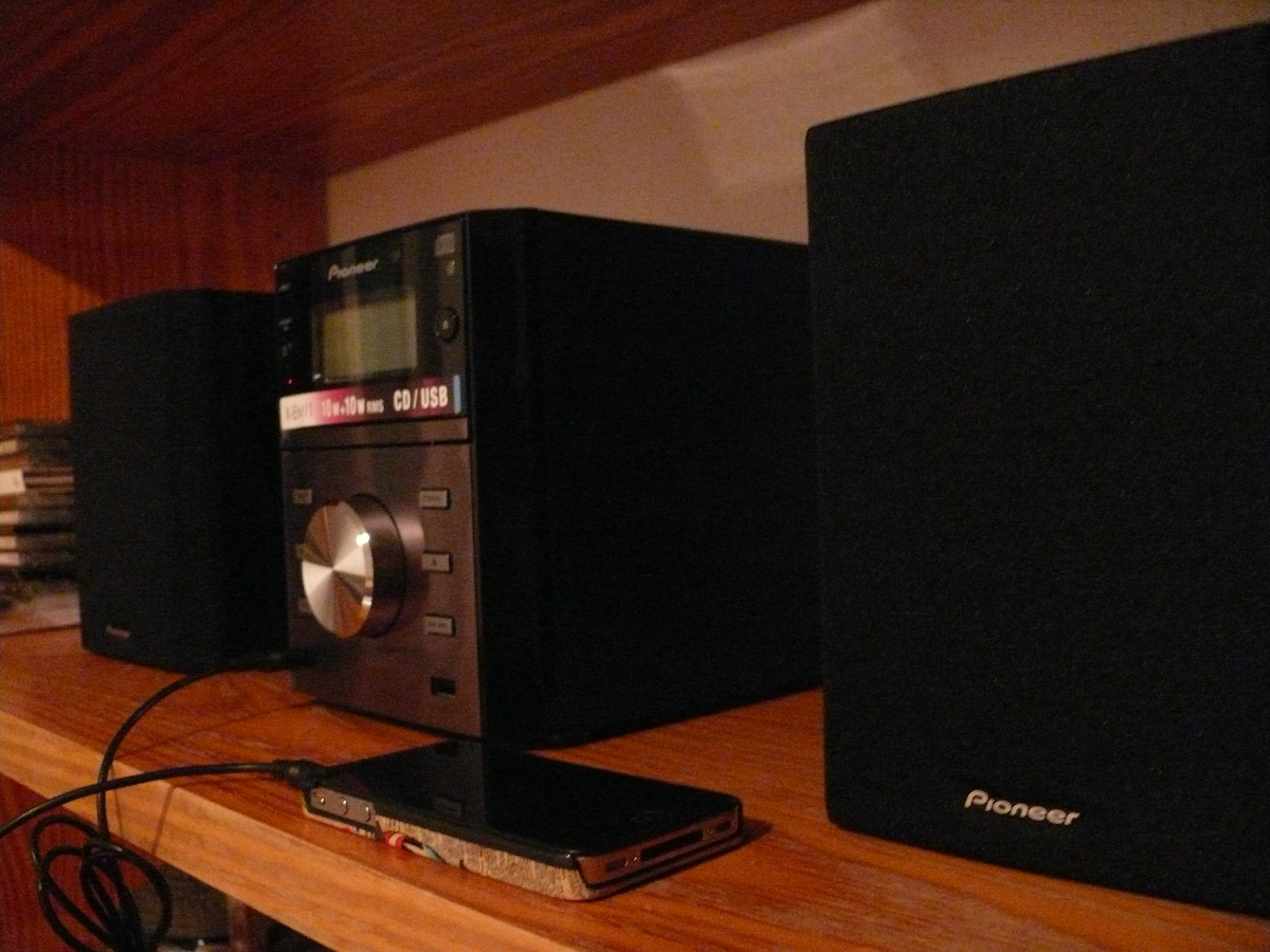 """Brand new Pioneer Hi-Fi stereo system with mp3 cable for you to listen to your music or a choice of """"relaxing music"""" CDs"""