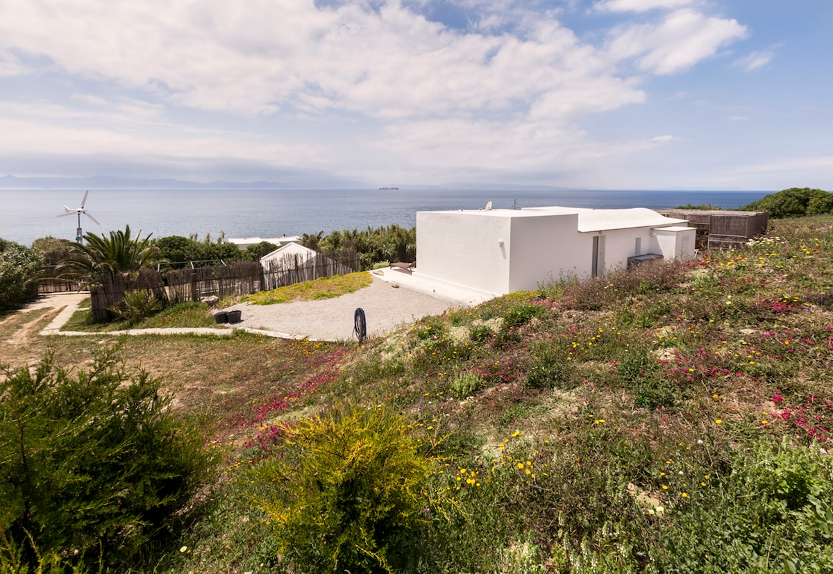 Main view of the property.  6 acres in the natural park of Tarifa, on the closest point to Morocco, stunning views and tranquility. 3 houses on the property. 1 house for 6 people and 2 houses for 2 people.