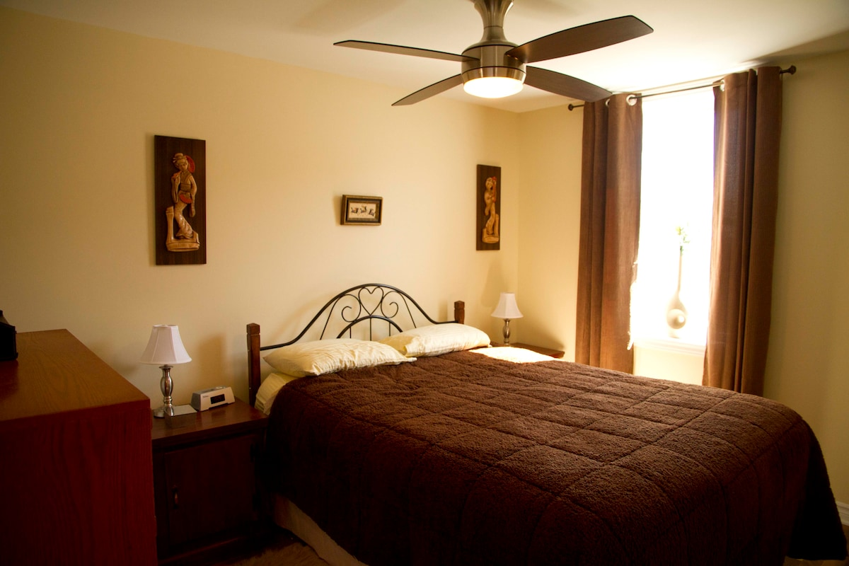 The large bedroom is equipped with a Queen size bed, Iphone docking station and a small safe in the closet.
