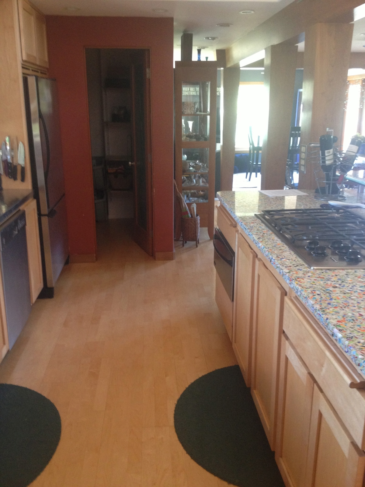 Kitchen with a view to the pantry.