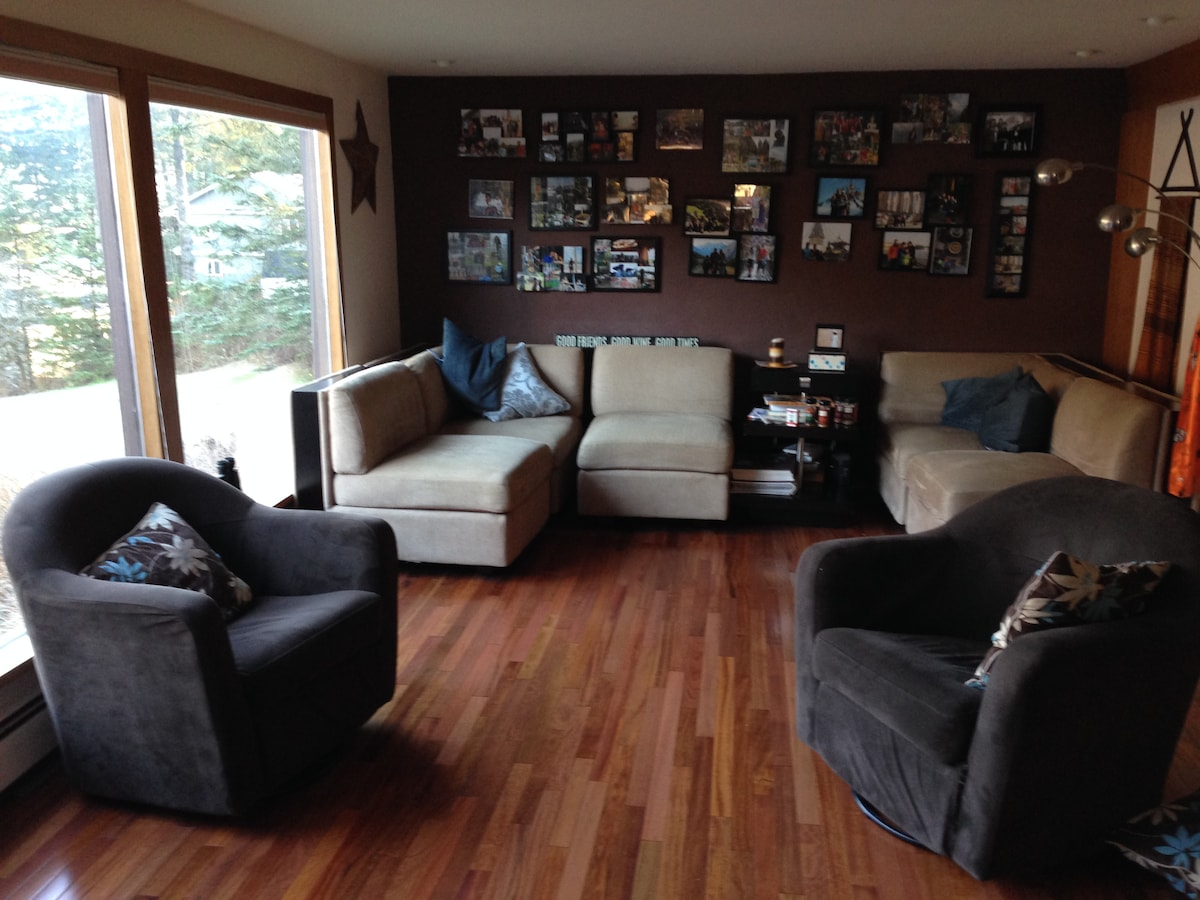 Living room #1 with a view of the Gastineau Chanel and Mt. Juneau and Mt. Roberts.