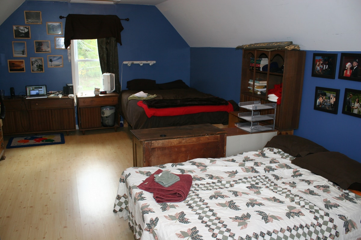This is one of our rooms room. Note futon for extra guests!