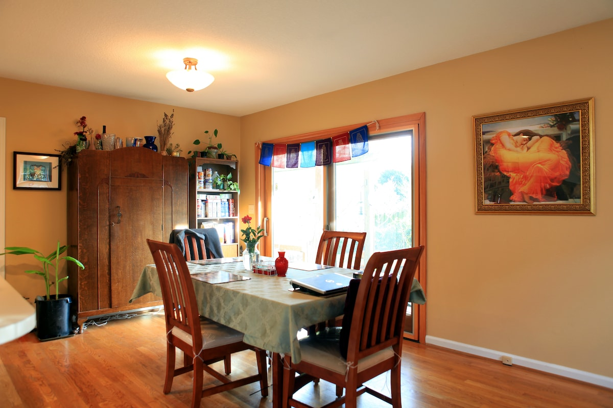 Dining room table - looks out onto beautiful yard.