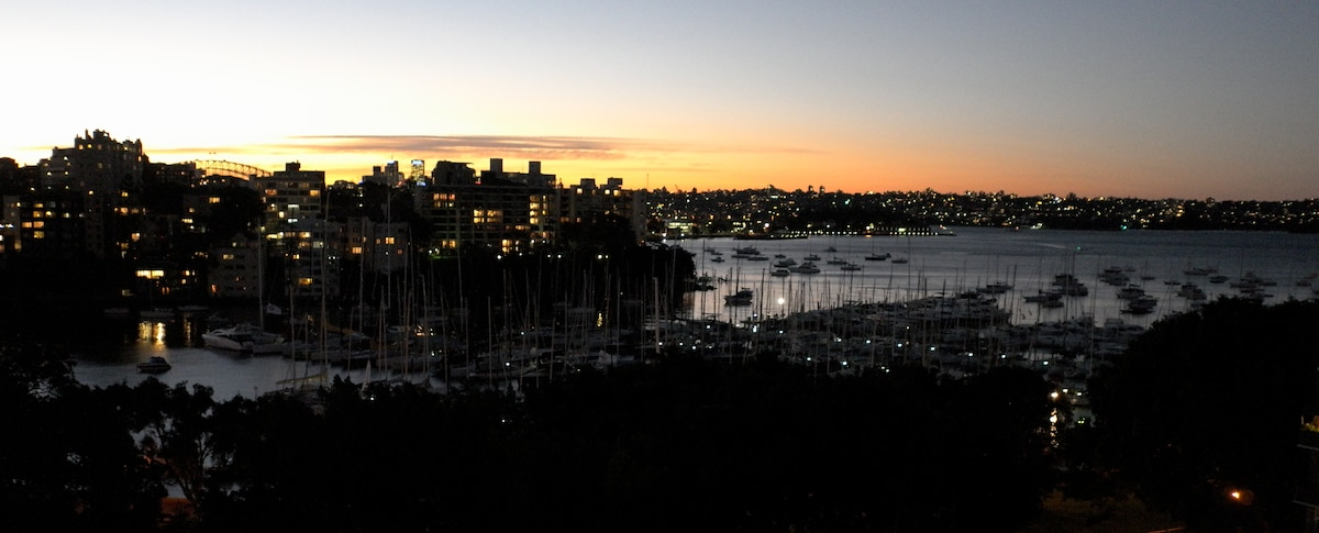 The harbour, yacht clubs and parks are on your doorstep.  Ten minutes in one direction and you're in the city.  Ten minutes in the other direction and you're at Bondi Beach.