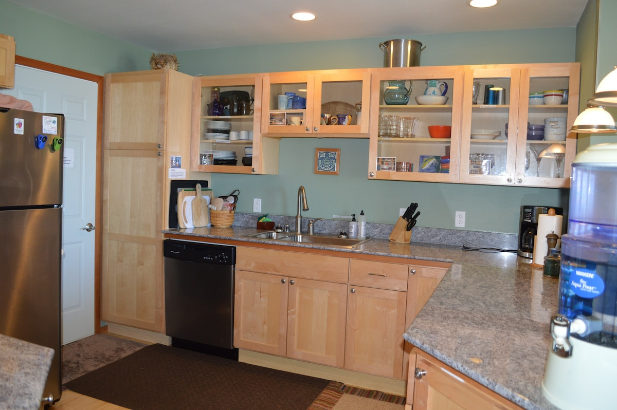Fully stocked kitchen with everything you need in a home away from home.