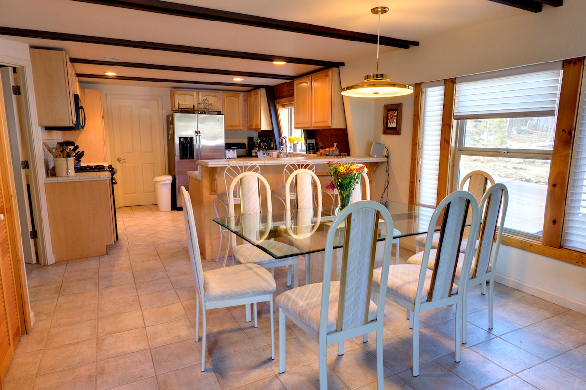 Fully supplied kitchen including all amenities and large seating area.