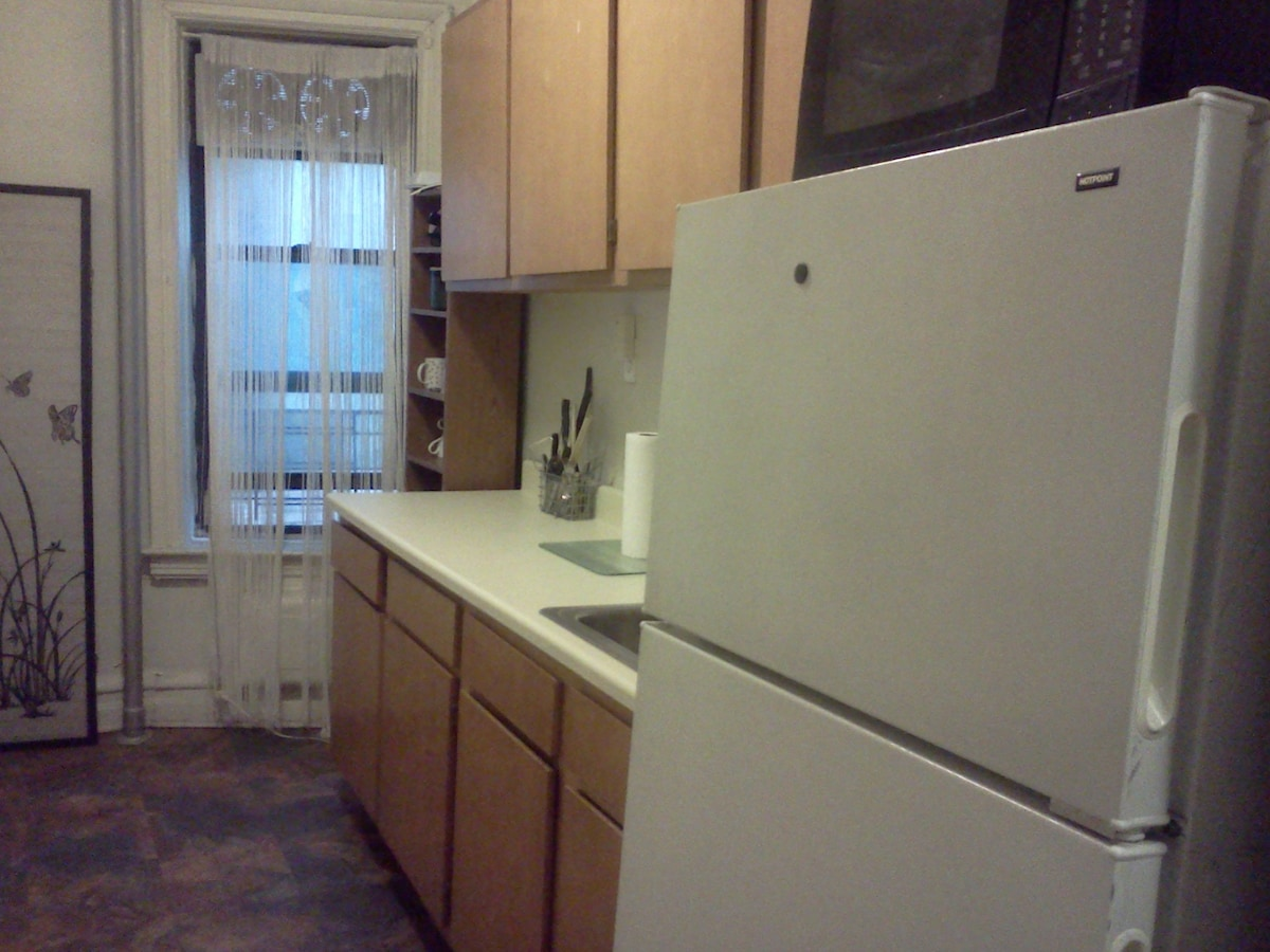 Kitchen.  Full size refrigerator and microwave.