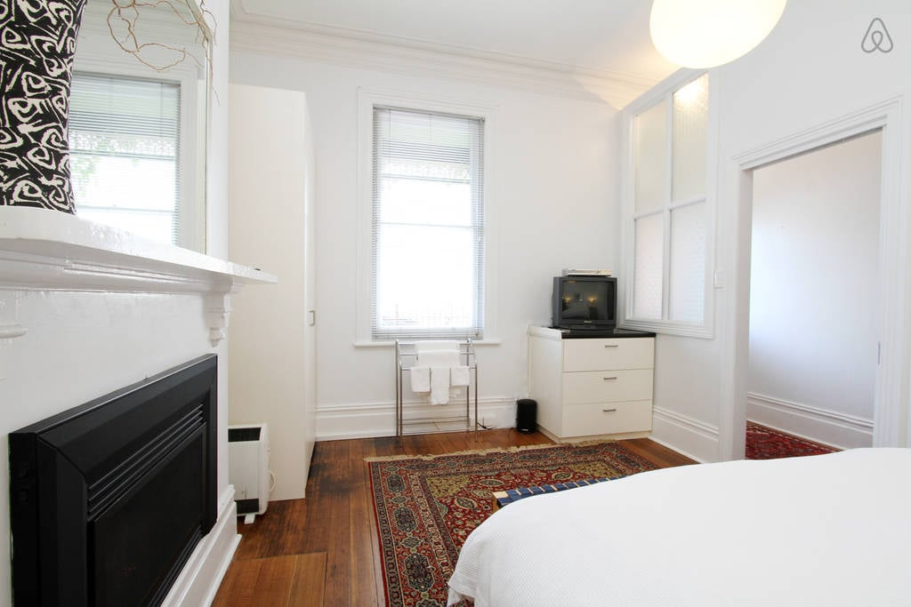 Master bedroom has gas heater and TV