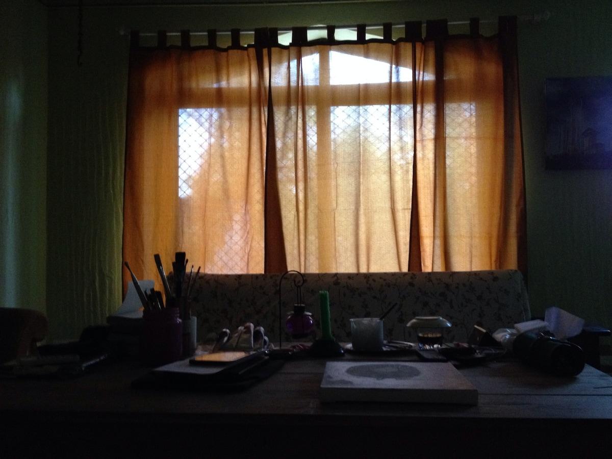 huge window to let in the light when u feel like it. garden beyond. peacocks visit in the morning