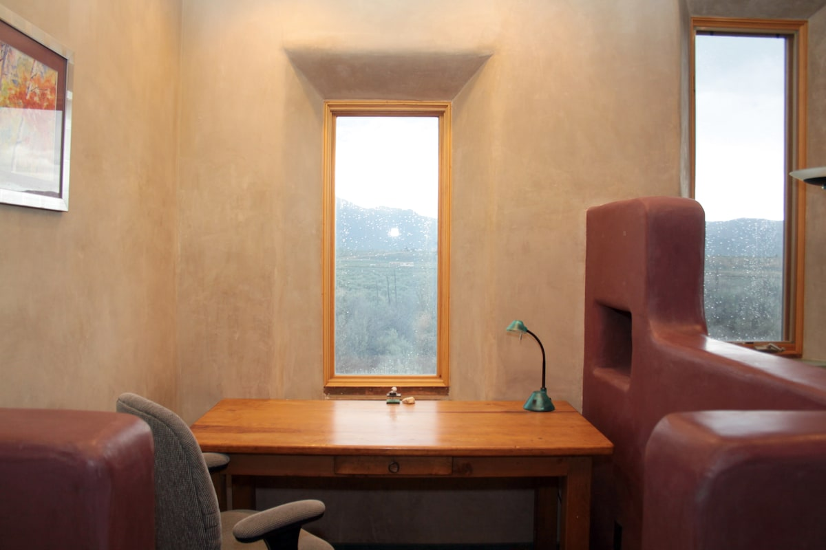 Writing nook with a view of Taos Mountain
