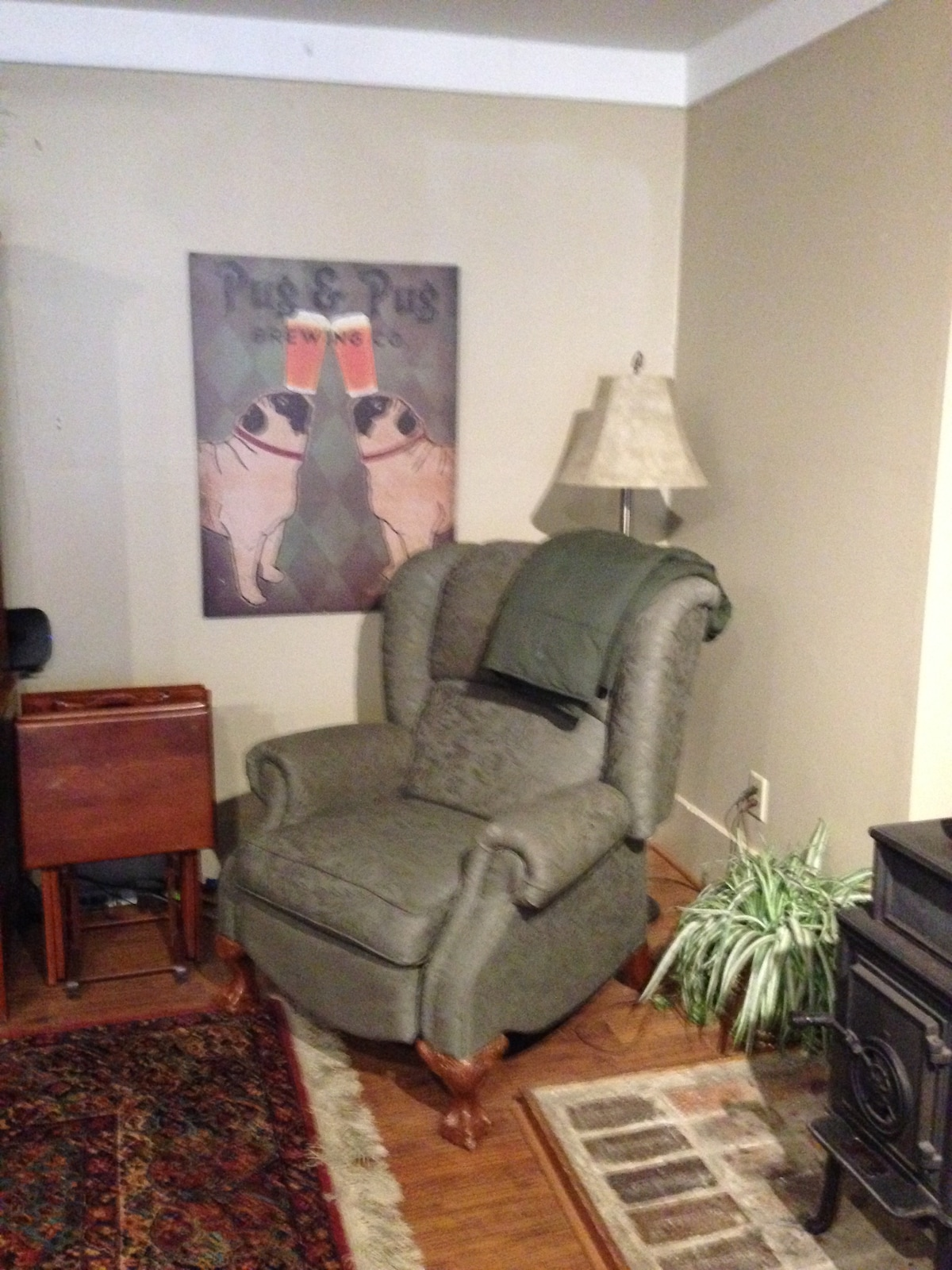 One of two Lazy-Boy recliners in livening room