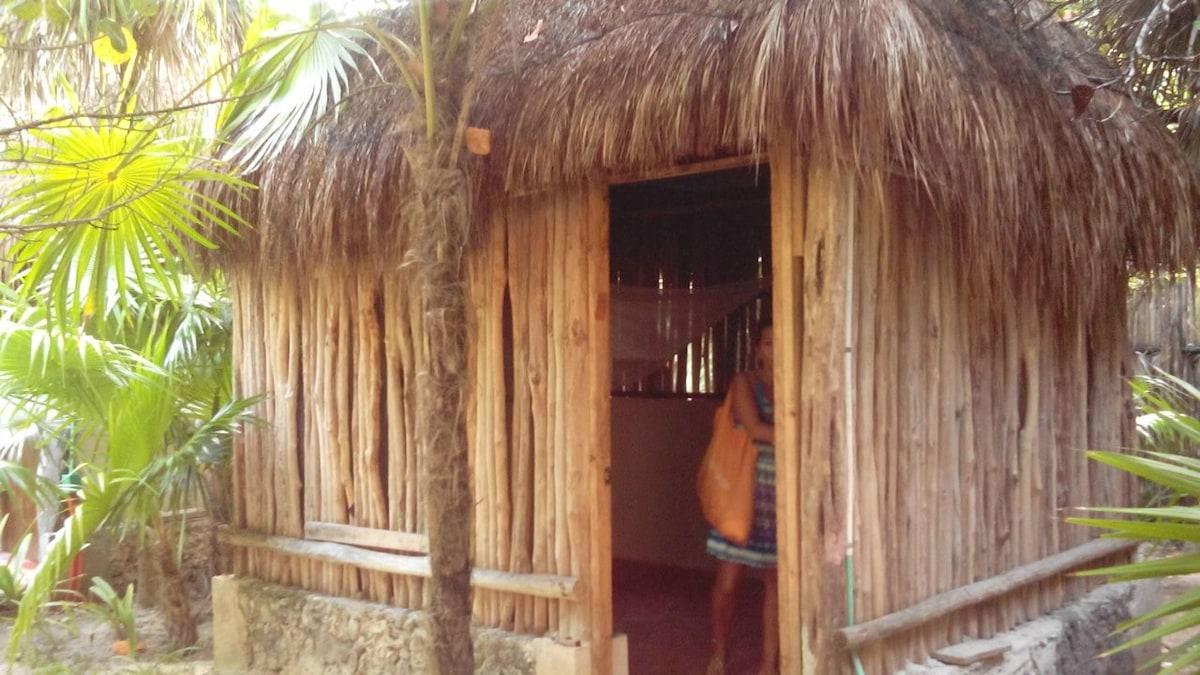 Rustic cabaña on the beach of Tulum