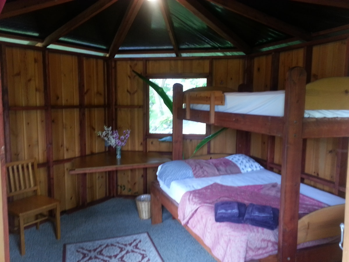 Cozy room with double and bunk bed