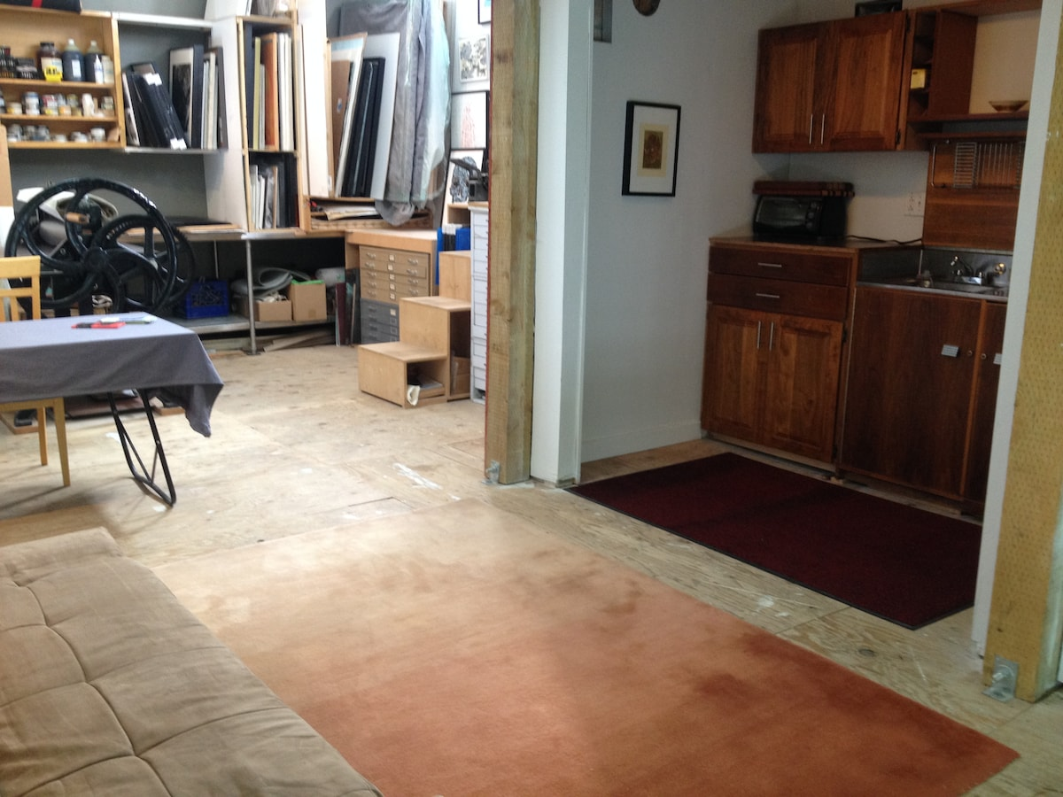 Main studio looking into kitchenette