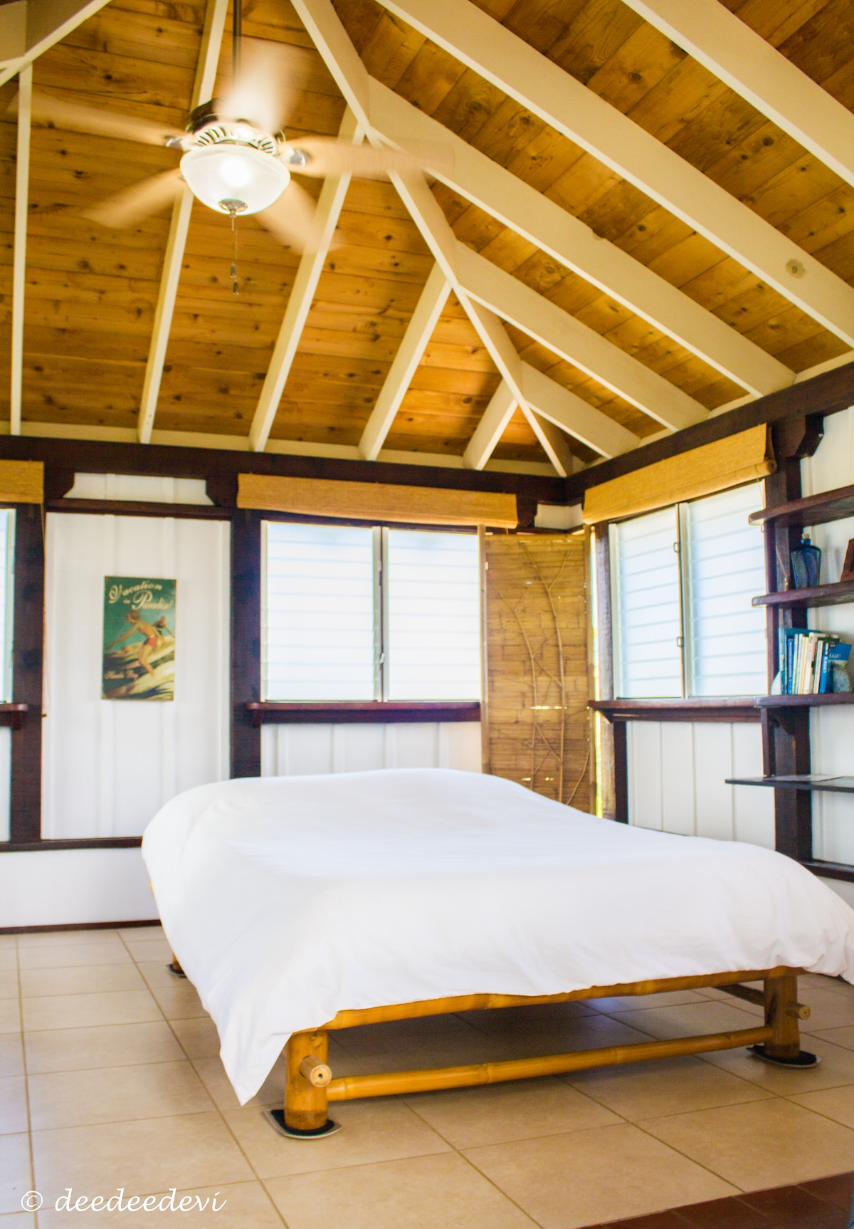 lovely eco bamboo matress on bamboo frame bed (no metal coil spring) with pure down comforter ~ bright LIGHT and airy room!