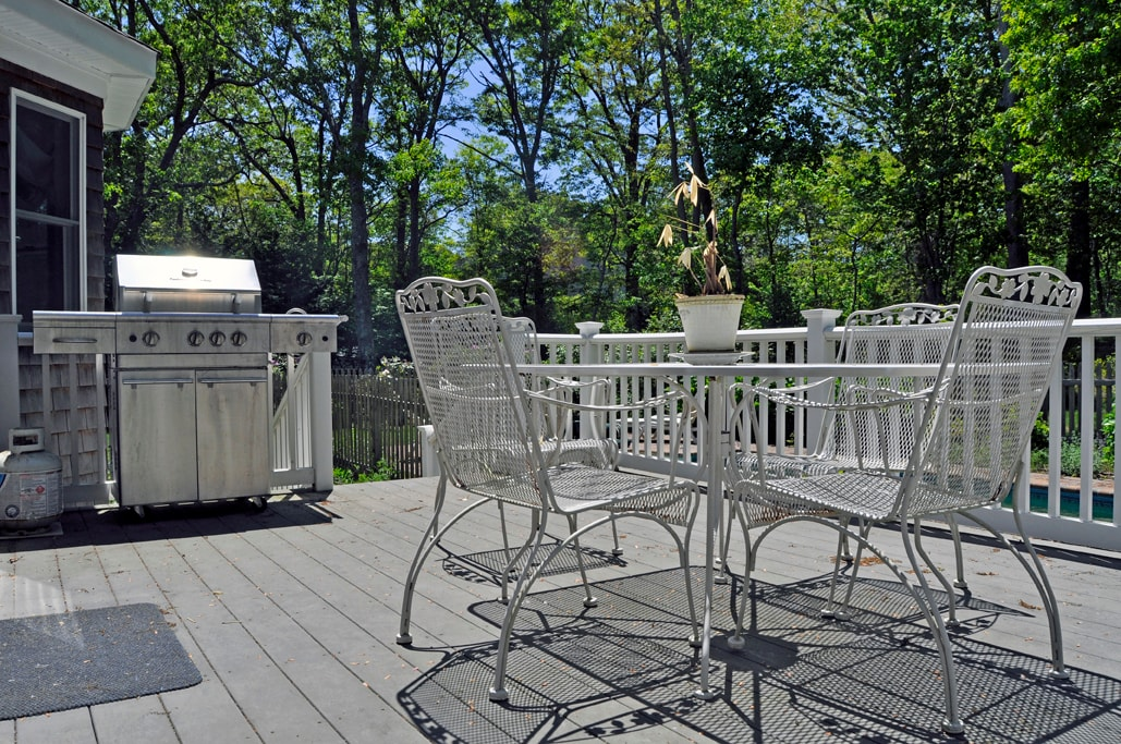 The deck is covered in sunlight all afternoon.  There are a lot of butterflies that flutter about the garden and the deck.