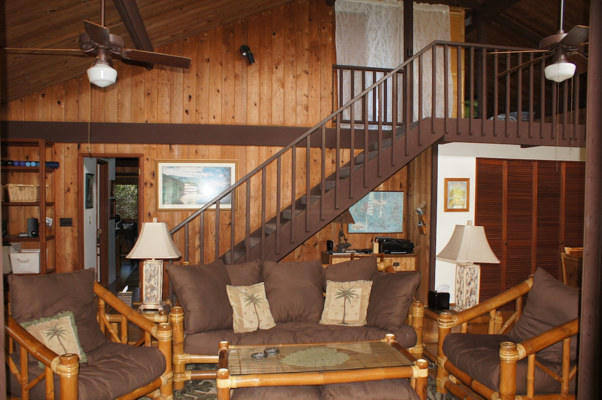 Another view of the livingroom, including stairway to the loft bedroom.
