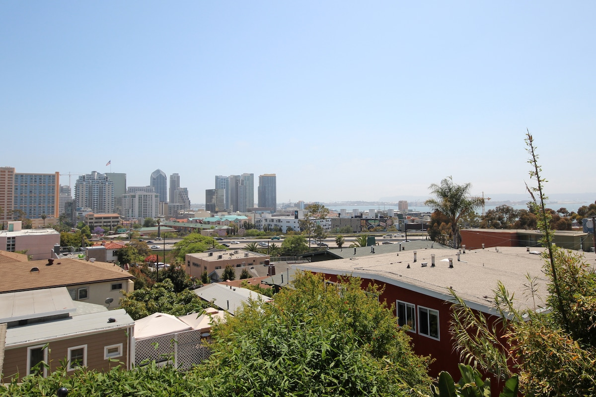 Private outdoor deck overlooking bay and downtown
