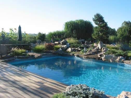 Pool with Cascading Waterfall