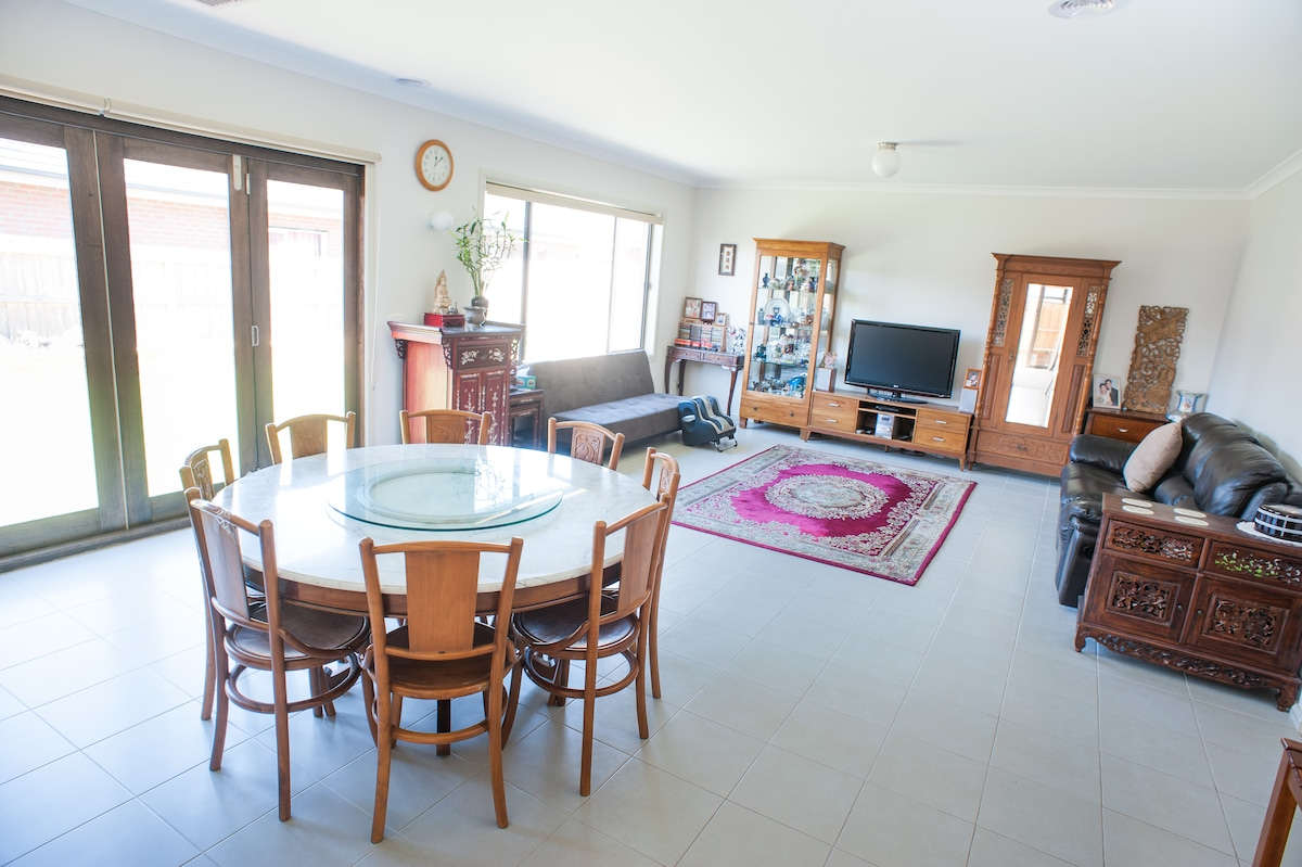 Long view of dining and living areas