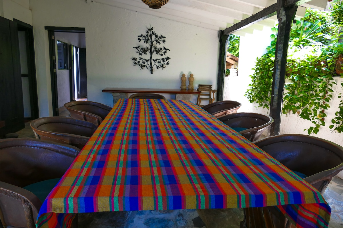 Lower House Dining area...open on two sides with a view of the Bay