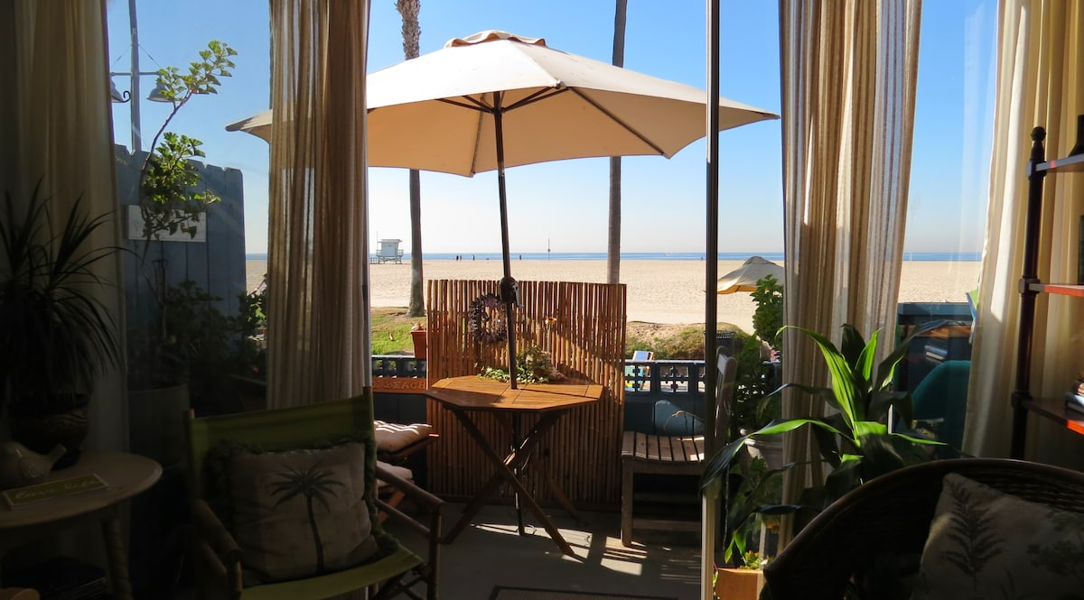 The patio is a great place to have your coffee or tea and watch the ocean waves!