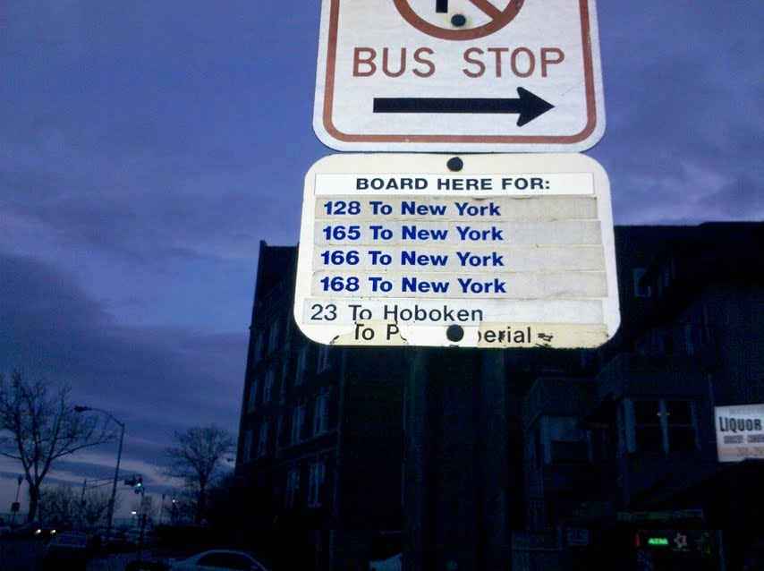 These are all the buses going to Manhattan there are also private buses going 24/7