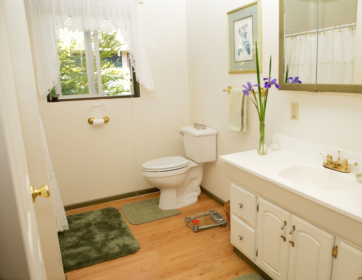 This is the private bathroom in the suite with a stall shower.