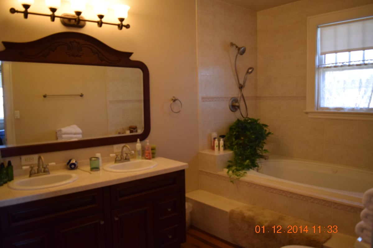 """Bahamian Room"" Private attached bath with double sinks and Jacuzzi soaking tub."
