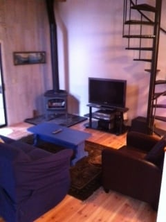 Living room with free standing fireplace; spiral staircase to loft