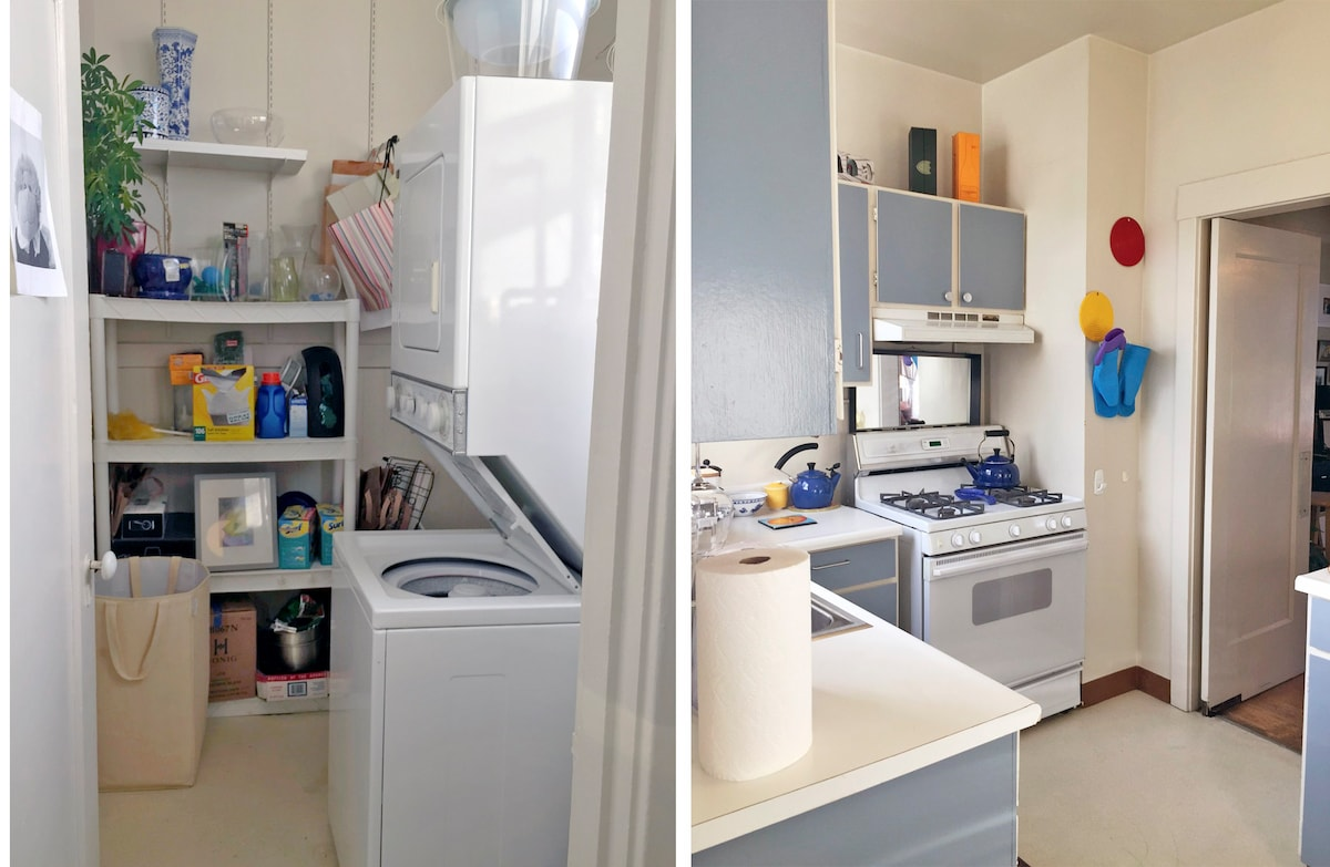 We have a washer and gas dryer you can use too along with soap and fabric softener. The laundry room is next to the kitchen.