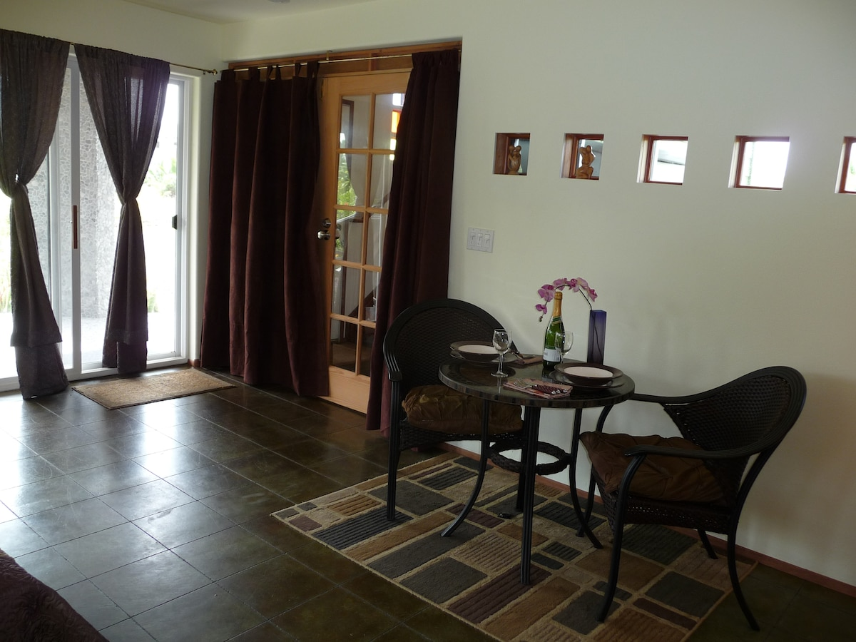 Private entrance through wide sliding doors from the garden. Doors to upper stairway are locked and covered.