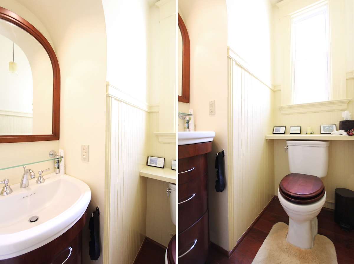 Bathroom recently remodeled with separate WC and extra vanity.