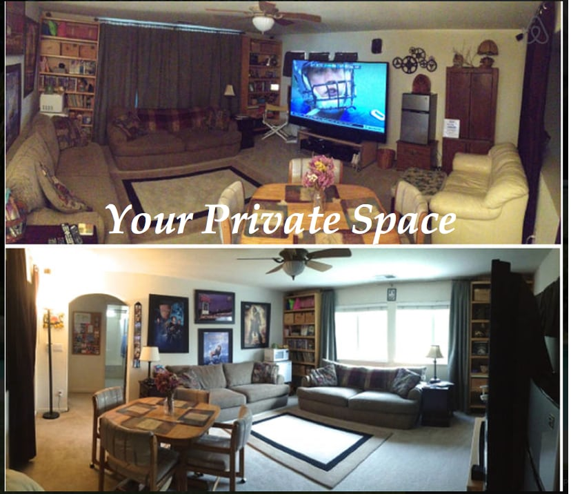 """Your """"PRIVATE"""" Family/Entertainment Room with Mitsubishi 92 inch TV (pano picture makes it look small but trust me, it's big). Blackout curtains for day or night theater experience. Both photos were taken at same time to show how well the blackout curtain"""